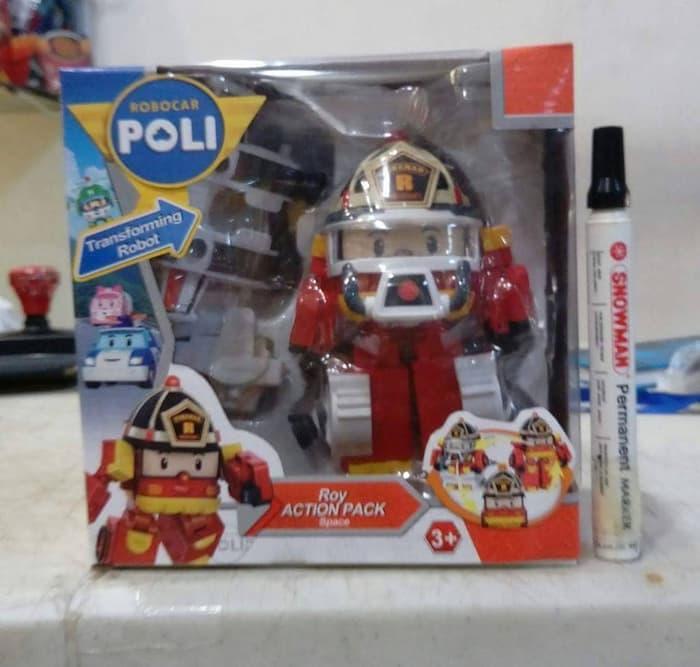 Mainan actjon figure Robocar poli Roy action pack Space Bisa transform