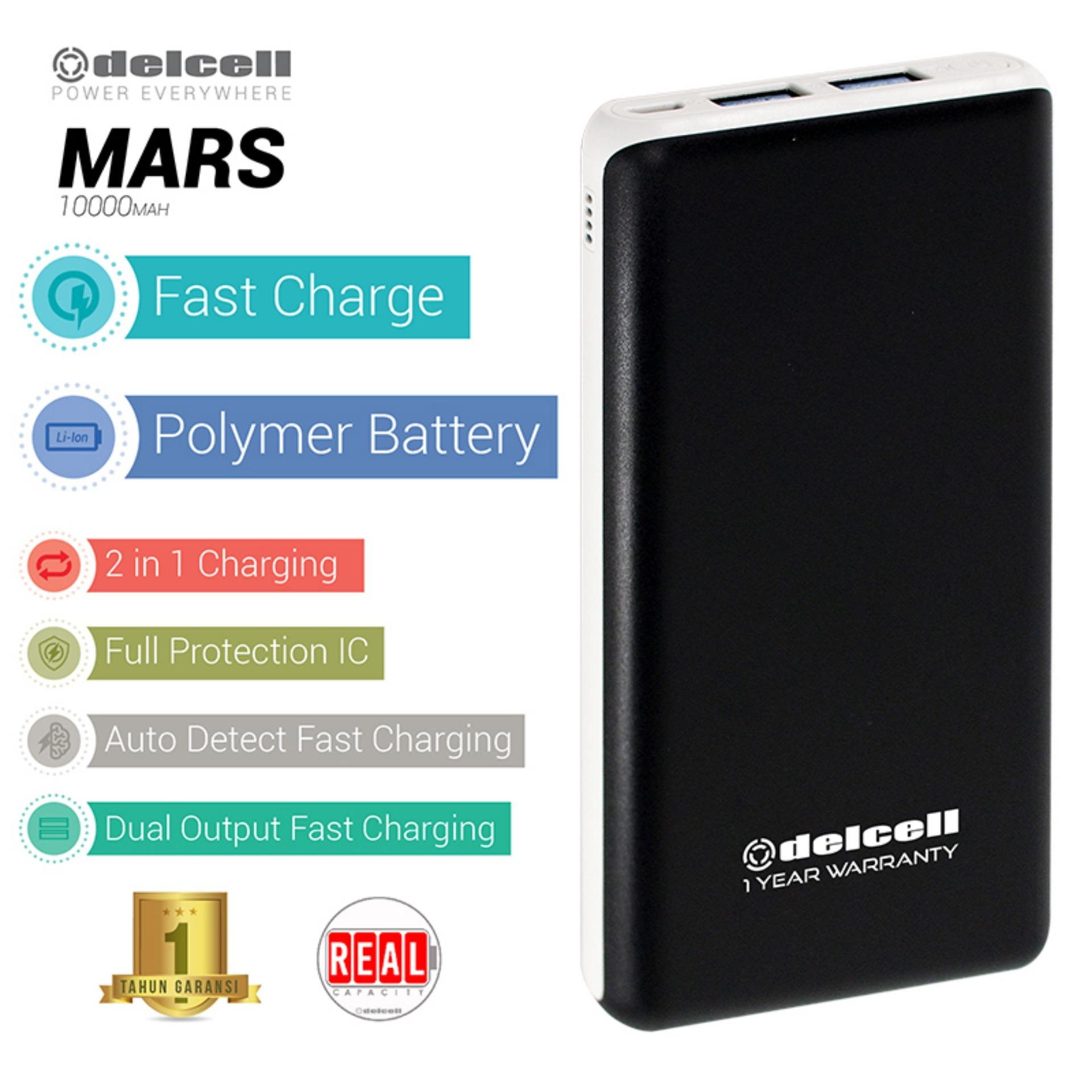Delcell 10000mAh Powerbank MARS Real Capacity Fast Charging Slim Powerbank Polymer Battery Dual Output Garansi Resmi 1 Tahun  Power Bank Murah Berkualitas -  Black