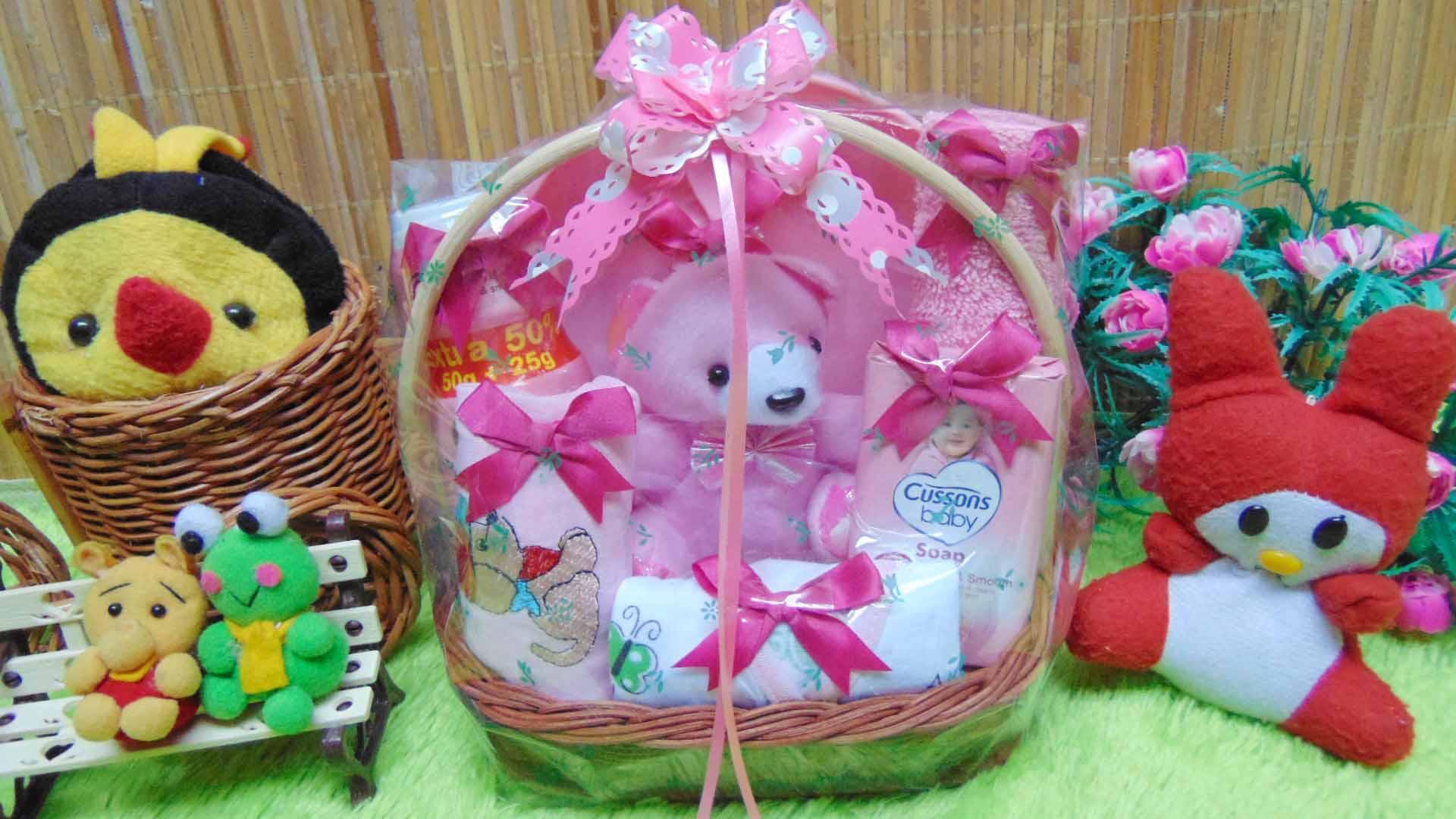 kembarshop - paket kado bayi baby gift – kado lahiran – parcel bayi – parsel kado bayi – keranjang tangkai mini feeding set tempat makan bayi komplit