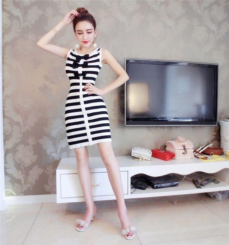 Stripe Triple Sweet Bow Dress 31692