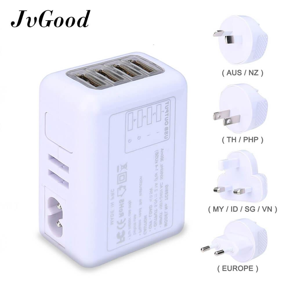 Jvgood Adaptor Daya International Universal Travel Power Adapter With 2.4a 4 Usb Charger & Worldwide Ac Wall Outlet Plugs By Jvgood.