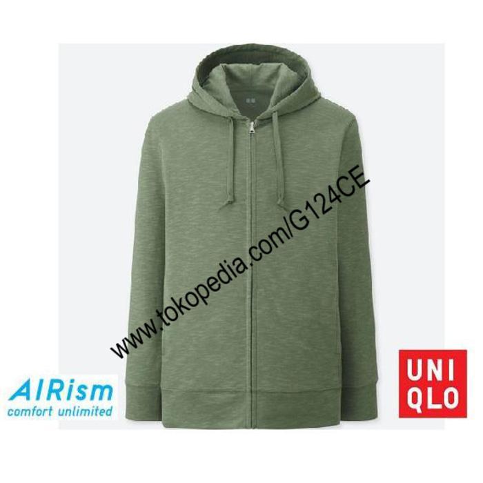 Jacket Pria Uniqlo Airism Hoodie Retsleting 404169 Hijau Green 53
