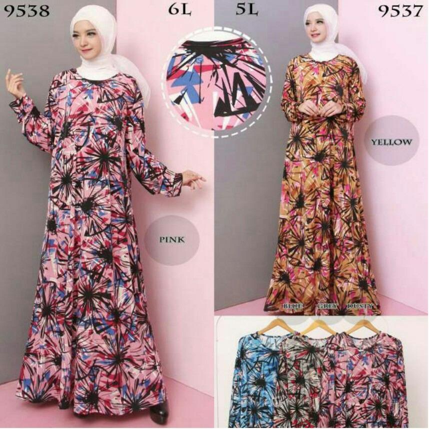 Baju Gamis Wanita Jumbo Bahan Jersey Korea - Motif Abstract