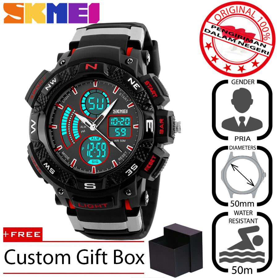 SKMEI 1211 Jam Tangan Pria Sport Analog - Digital Silikon PU 50 mm - Anti Air