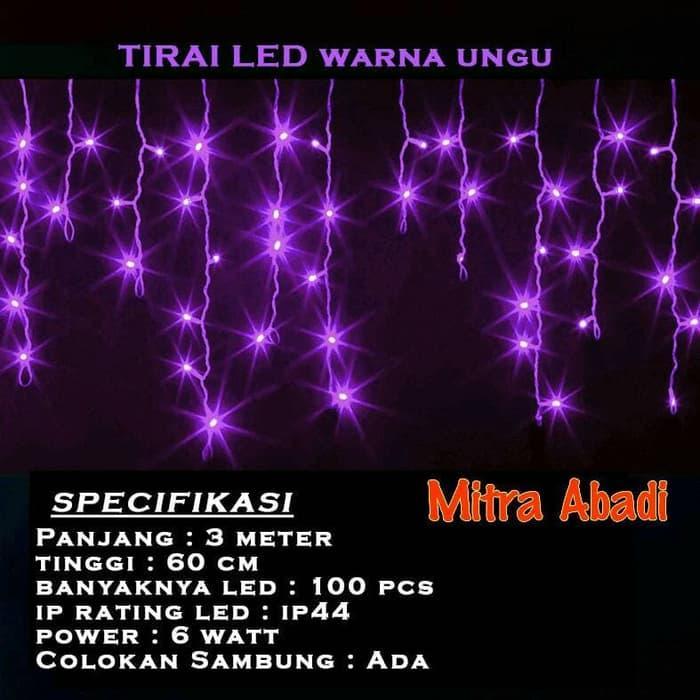Lampu Natal Tirai LED Ungu/Violet 99 LED AC 220V @ tirai jendela magnet kamar mandi pintu benang anti nyamuk bambu
