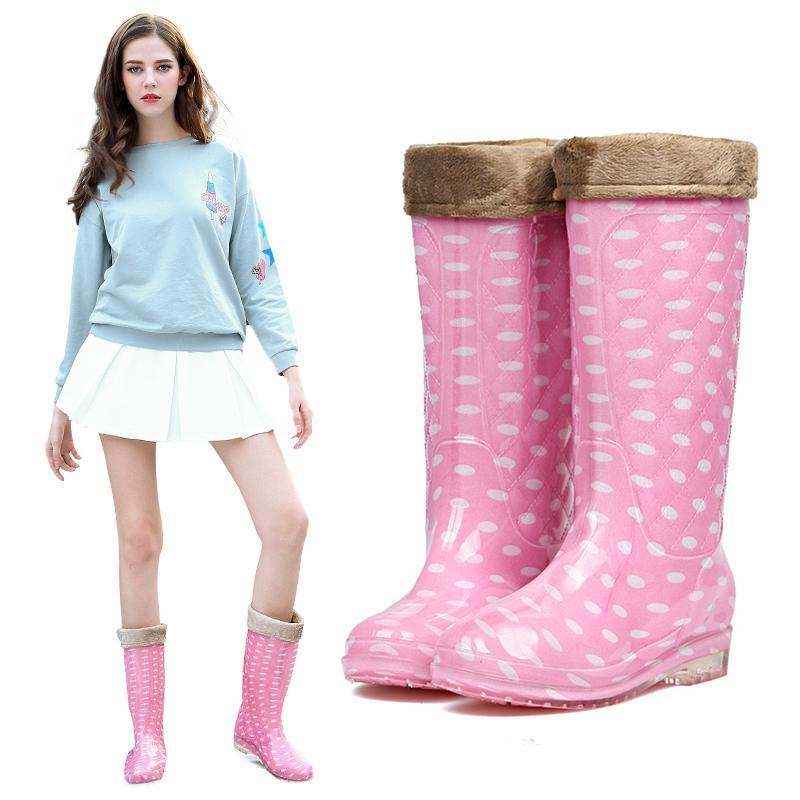 Musim gugur musim dingin Tambah beludru sepatu bot hujan wanita Panjang modis sepatu anti air dewasa Anti Selip sepatu anti air di Gaotong sepatu boots hujan wanita Korea Selatan Sepatu karet