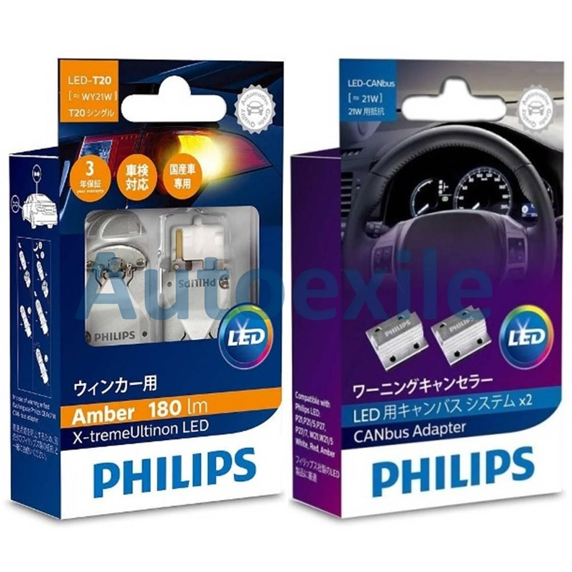 Philips Xtreme Ultinon LED T20 WY21W WY21 12V Jingga free CANbus 21W Kedip Normal Fix Error Lampu Sein Amber Mobil