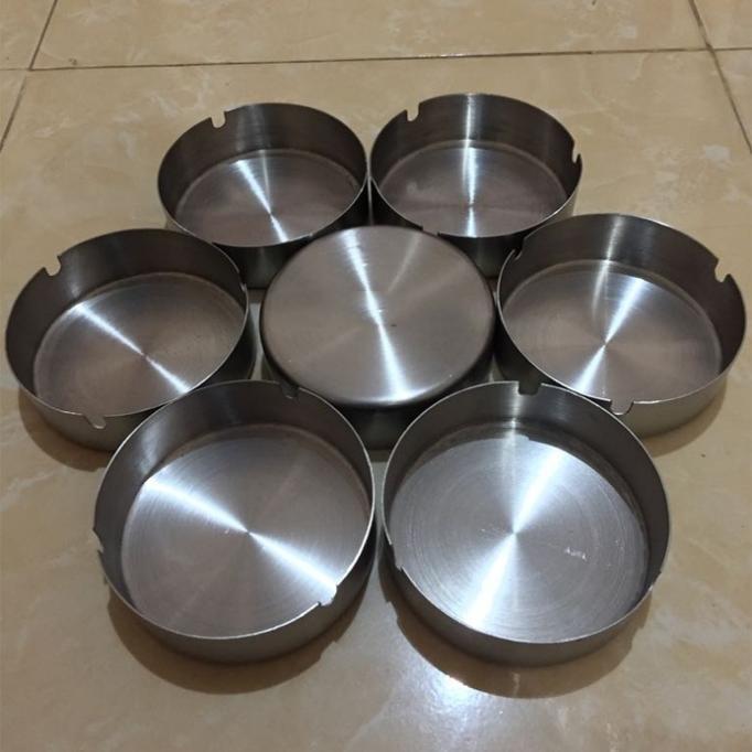 Asbak Stainless Steel Ashtray BESAR 12 cm x 3 cm / Asbak Stenlis Anti Karat Bulat