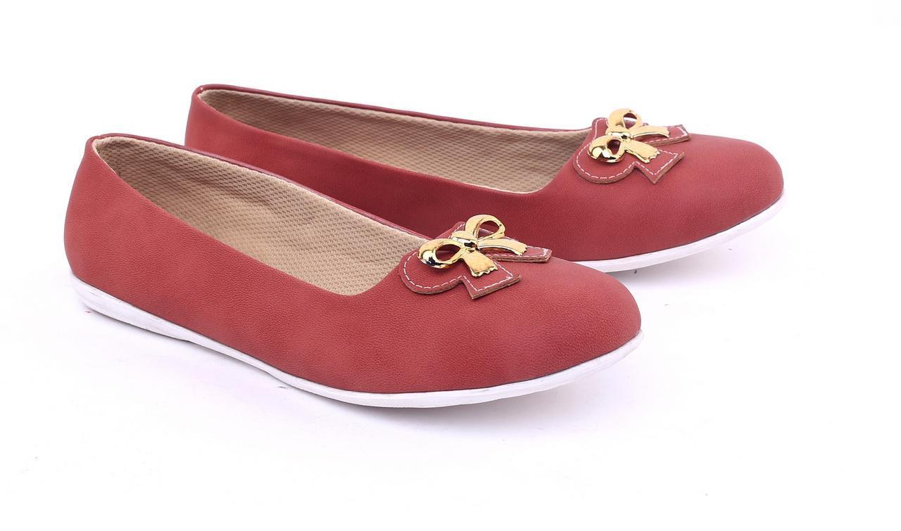 Garsel Sepatu Flat Wanita - bahan Synthetic - sol Tpr murah dan berkualitas (Merah Bata) GKK 6035