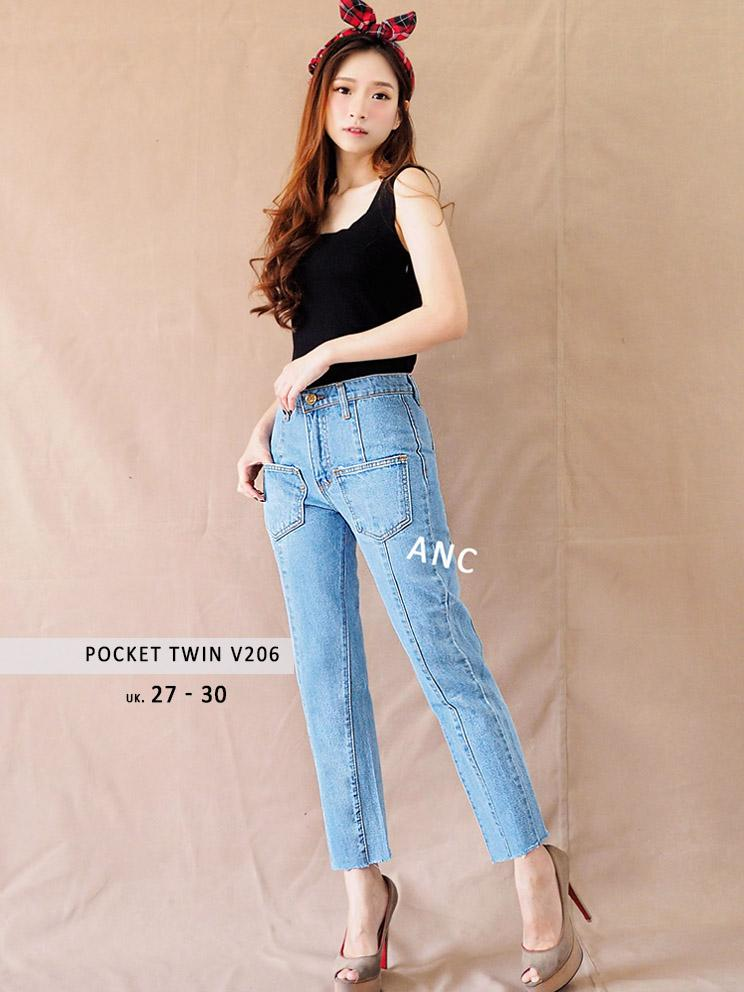 KOLEKSI JEANS TERBARU - Celana Boyfriend Jeans Pocket Twin V206 - ANCIENSTORE