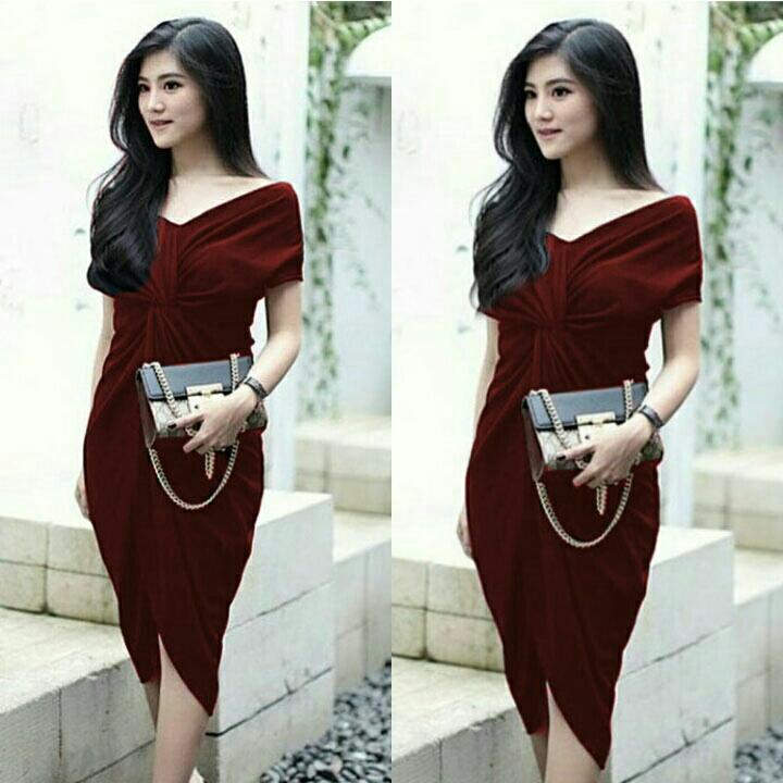AK - TK Nagita Dress Maroon Bahan Twistcone / Dress Wanita Murah Adem Soft Best Quality