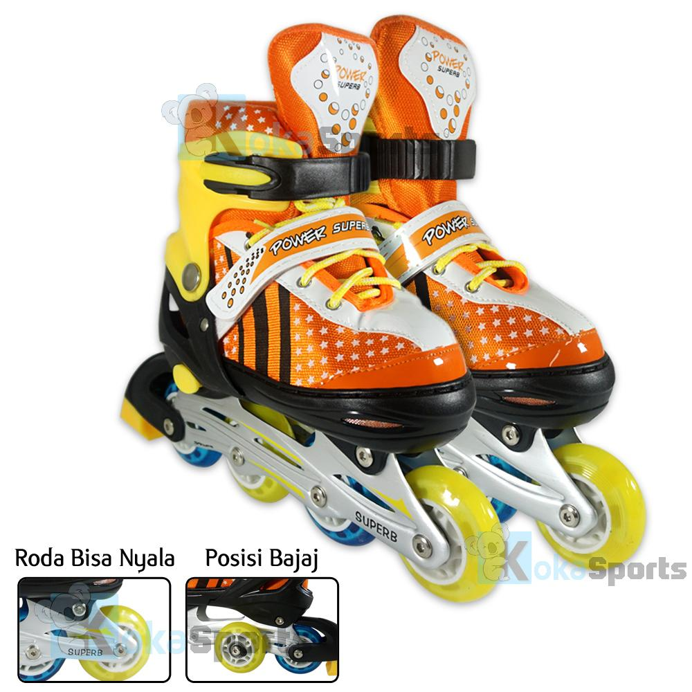 Power Sport Super B inLine Skate Sepatu Roda 2 in 1 Adjustable Wheel - Orange-Kuning
