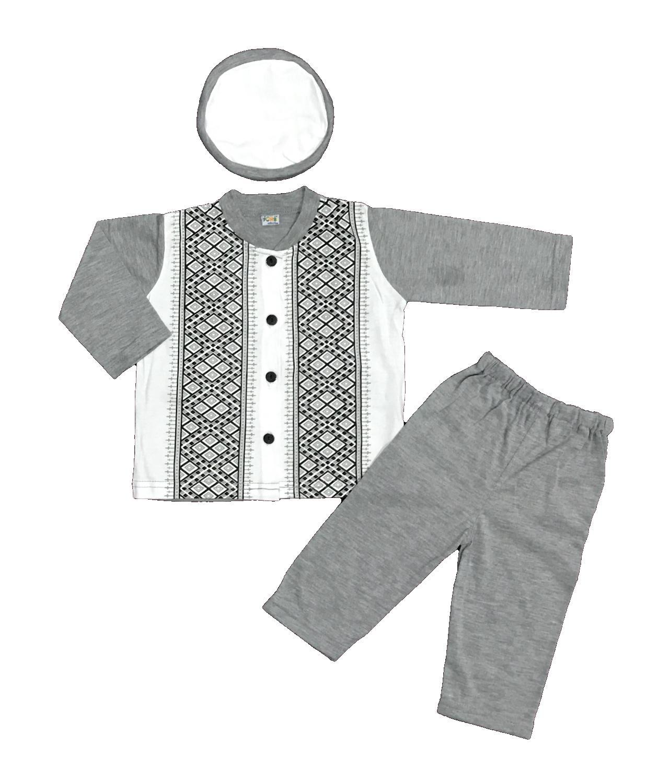 BAYIe - Setelan Baju Bayi Muslim Laki Laki POMBI/ Baju Koko Bayi cowok + Kopiah/Peci umur 6 - 24 bulan