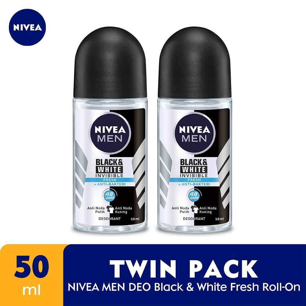 Nivea Men Deodorant Black & White Fresh Roll On 50ml – Twinpack By Lazada Retail Nivea.