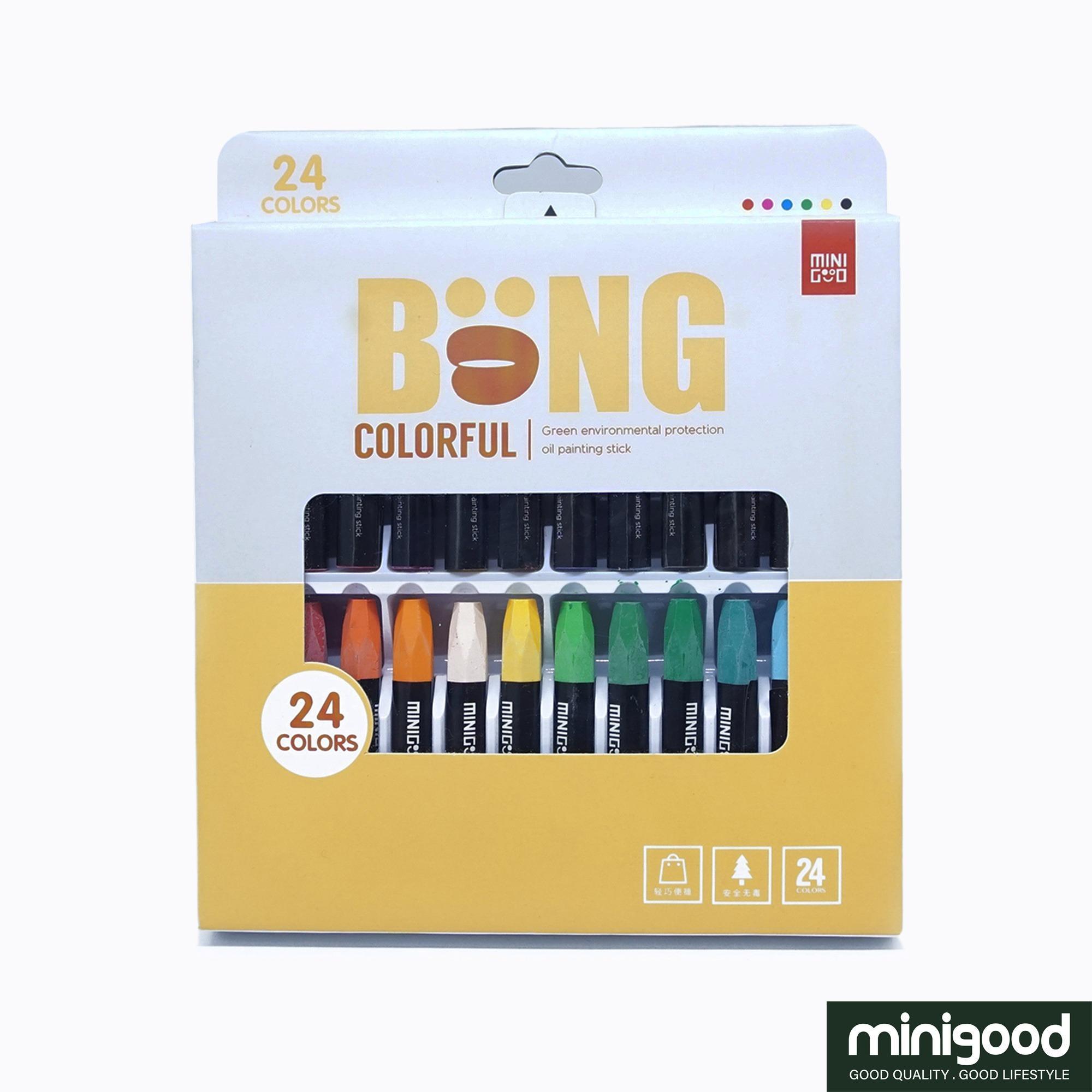 minigood NEW PRODUCT pensil warna crayon set gambar bahan campuran minyak partikel lilin 24Colors