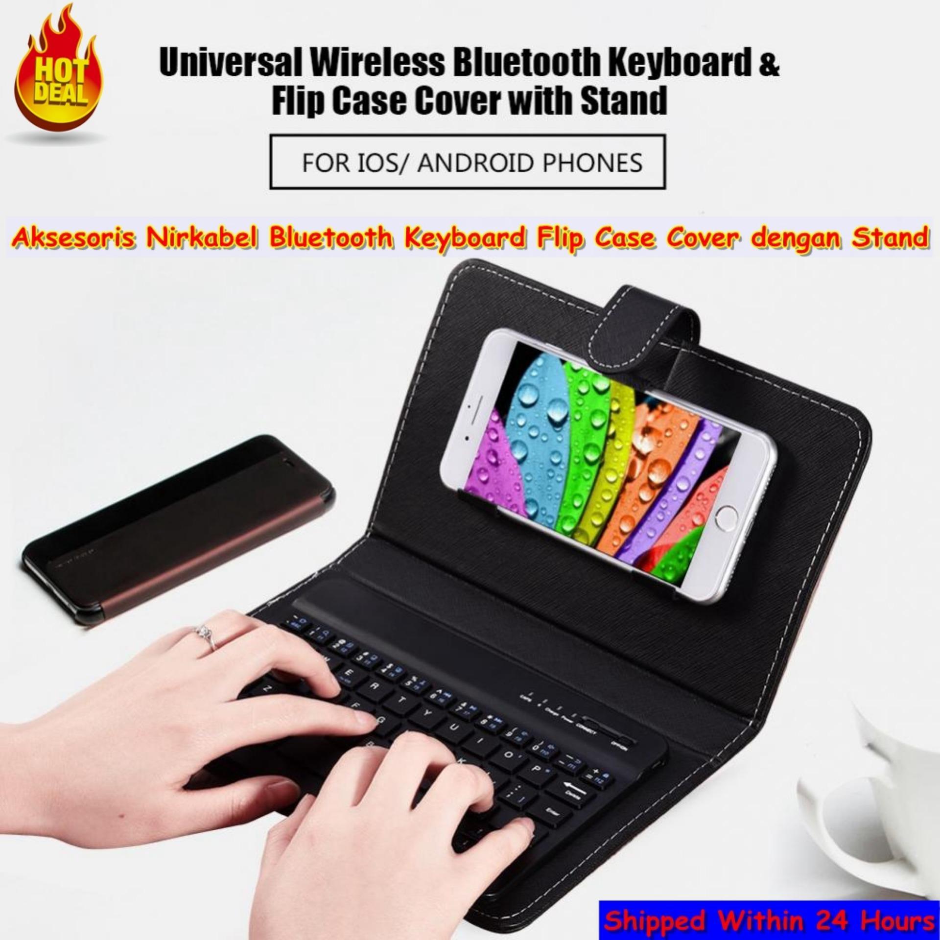 Qianmei Universal Aksesoris Nirkabel Bluetooth Keyboard Flip Case Cover dengan Stand-Intl