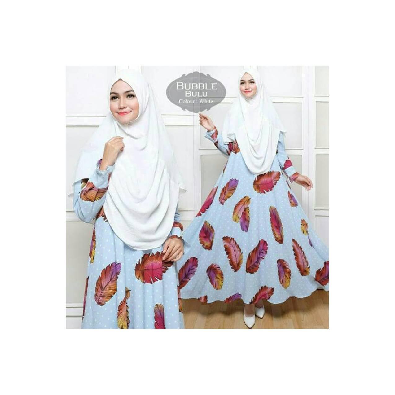 syarii buble bulu polkadot*baju muslim motif*baju gamis*stelan hijab