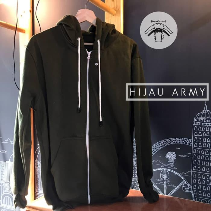 HOT SPESIAL!!! Jaket Sweater Polos Hoodie Zipper Hijau Army - Premium Quality