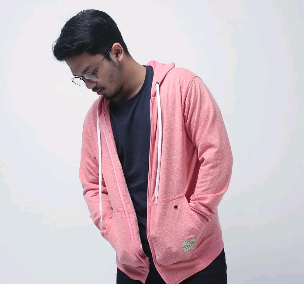 Jaket Zipper Hoodie Pria dan Wanita Terbaru Widcal Twotone Pink