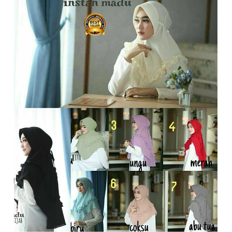 Premium Jilbab Kerudung Instant Syari (Jilbab Syar'i) Hijab Instan Khimar Madu Toko Berkah Online