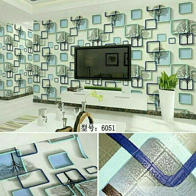 Wallpaper Sticker Motif Kotak Biru Biru Size 10mx45cm
