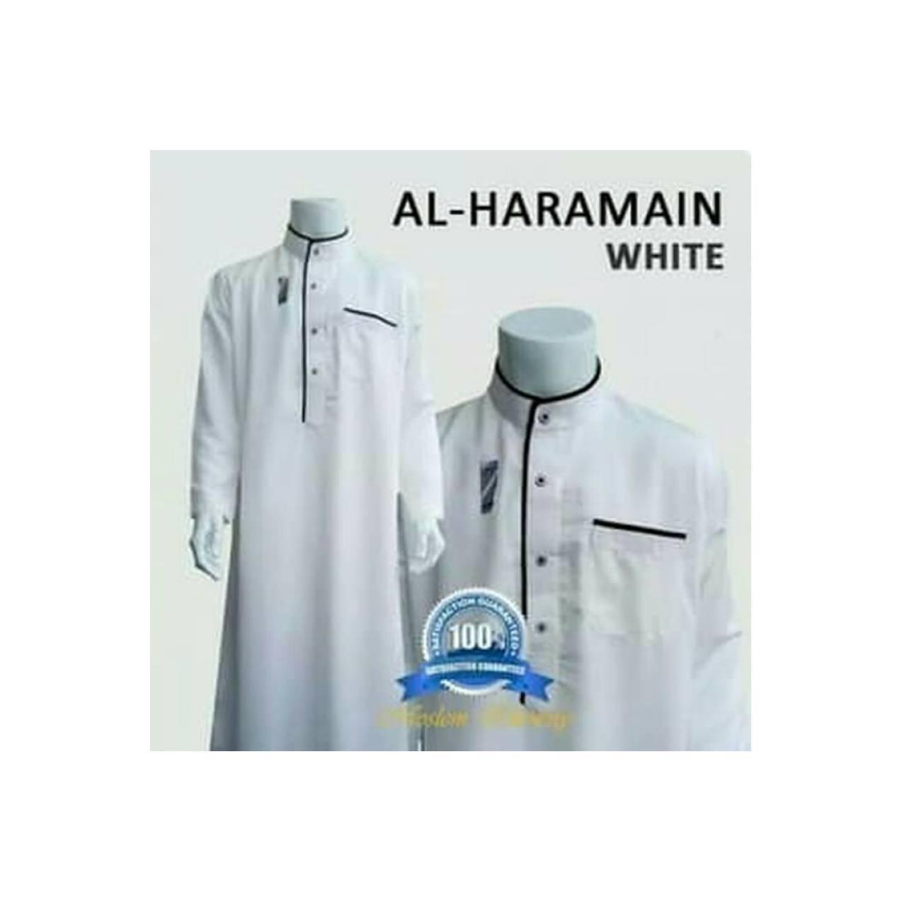 Gamis Pria Al-Haramain (S,M,L,XL) Lengan Panjang, Putih.