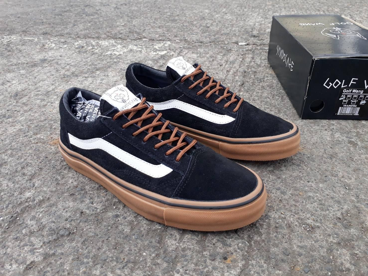 sepatu vans oldschool golf wang black gum wafle icc