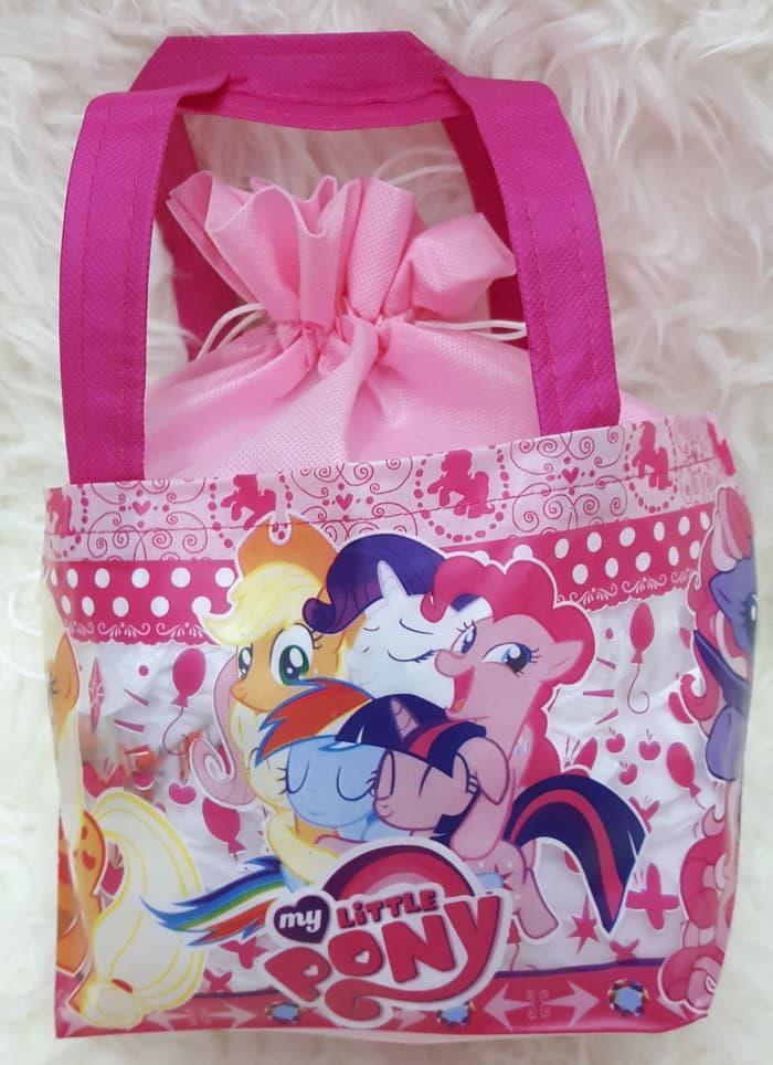 ASLI!!! Tas serut Spunbond / Goodie bag / Tas Souvenir Ultah Anak Little Pony - vkSwfc