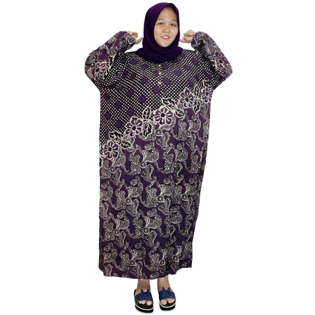 Longdres Jumbo Batik, Daster Lengan Panjang Jumbo, Baju Tidur, Piyama, Kancing, Daster Bumil, Busui (LPT003-09) Batikalhadi Online
