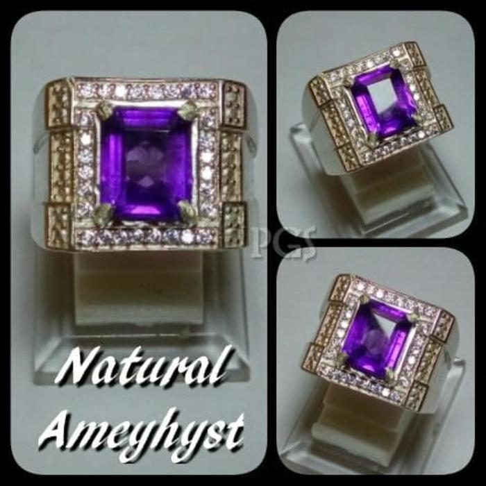 Promo Big Sale Perhiasan Aksesoris Cincin Batu Akik Permata Natural Kecubung Amethis Ring Alpaka Super By Natural Gemshop.