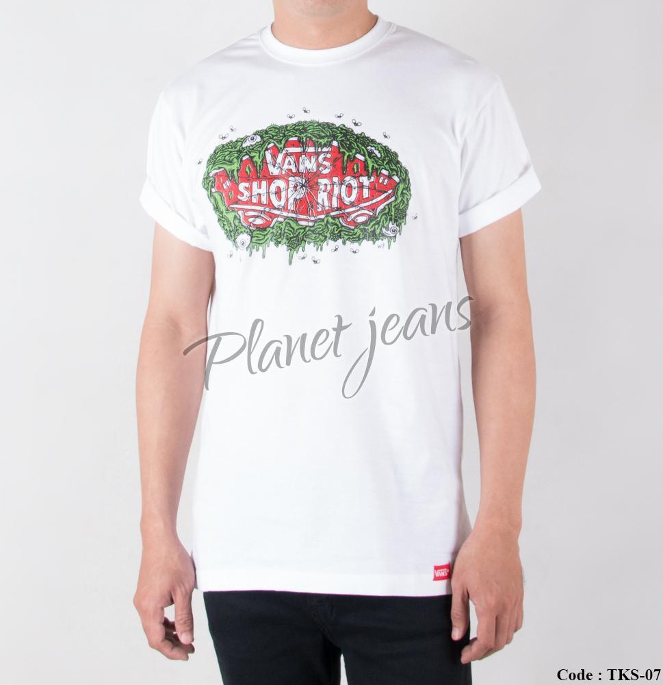 Baju Kaos Distro Cowok Vans / T-Shirt Surfing Pria Sket Surf Tks07