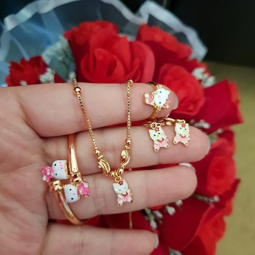 set kitty anak xuping gold merah pink
