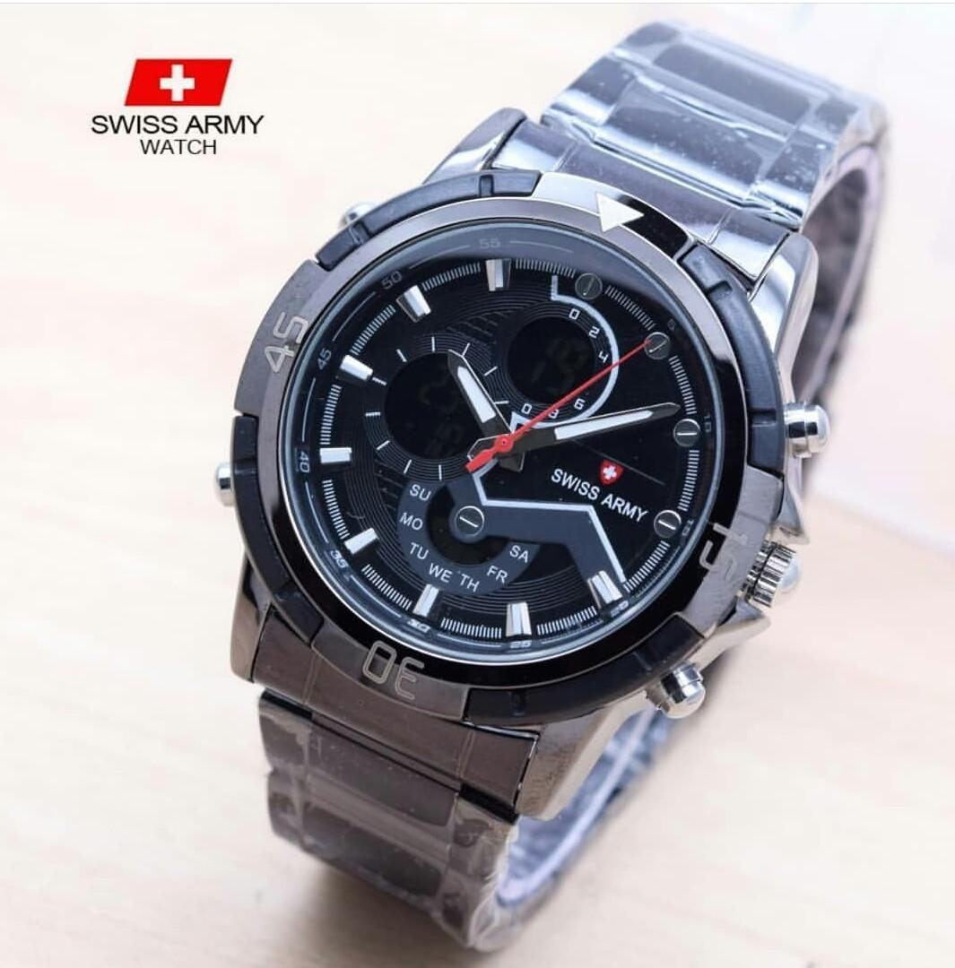JAM TANGAN PRIA/SWISS ARMY/DUAL TIME/BLACK/HITAM/ORIGINAL/TERFAVORIT