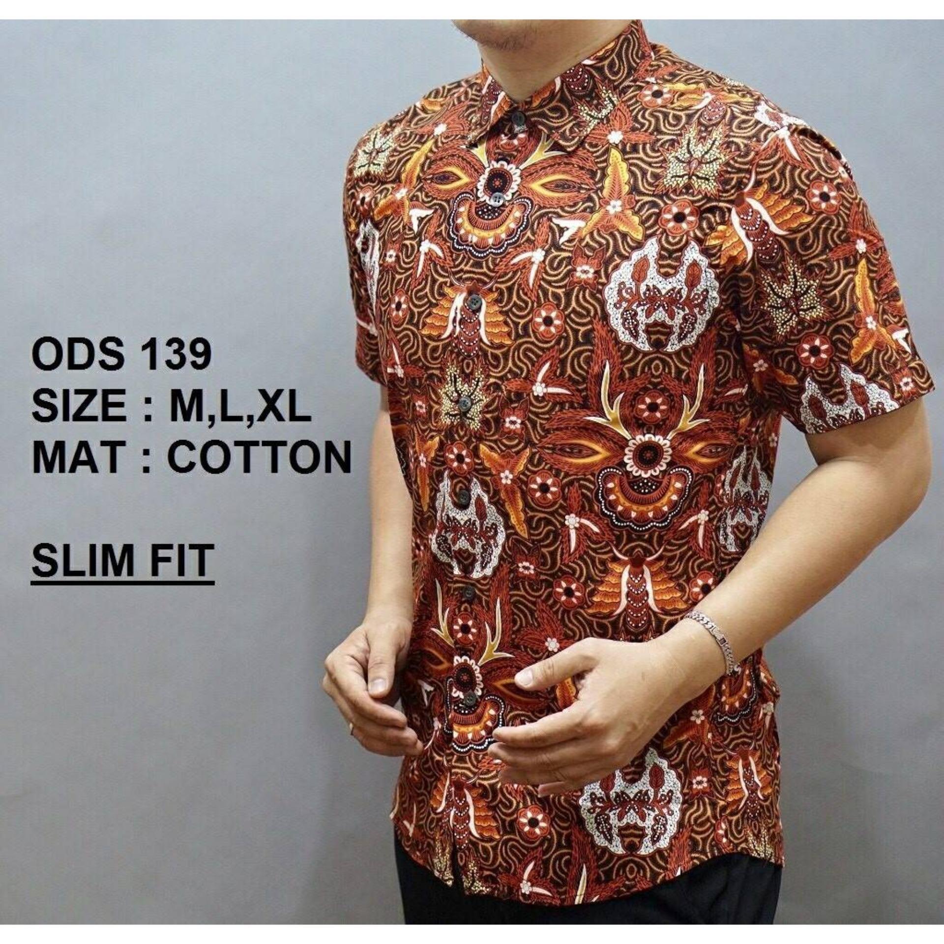 Atasan Kemeja Batik Modern Baju Pria Slim Fit Lengan Pendek OB623