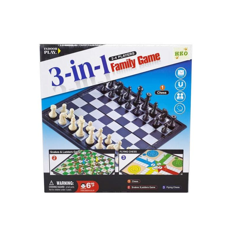 SNETOYS - 3 IN 1 MAGNETIC GAMES - Mainan Catur, Flying Chess, Checkers dan Ular Tangga