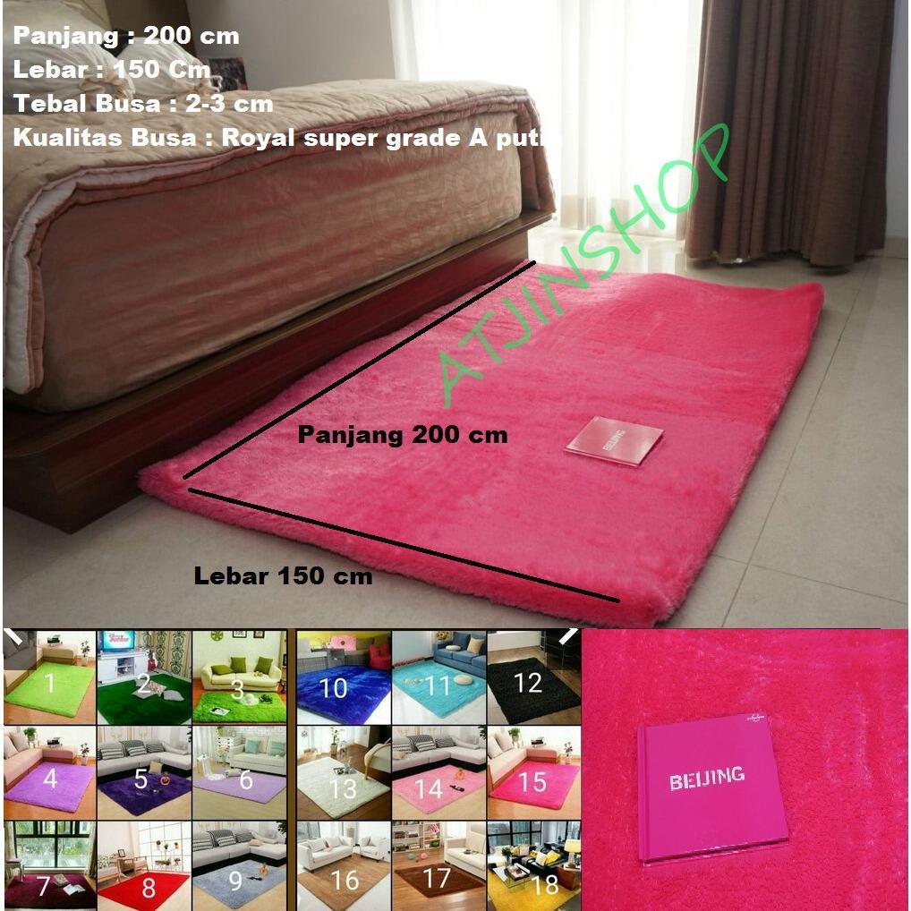 TjinCollection-Karpet Bulu Rasfur Lembut Busa Super Berkualitas 200 x 150 [PINK]