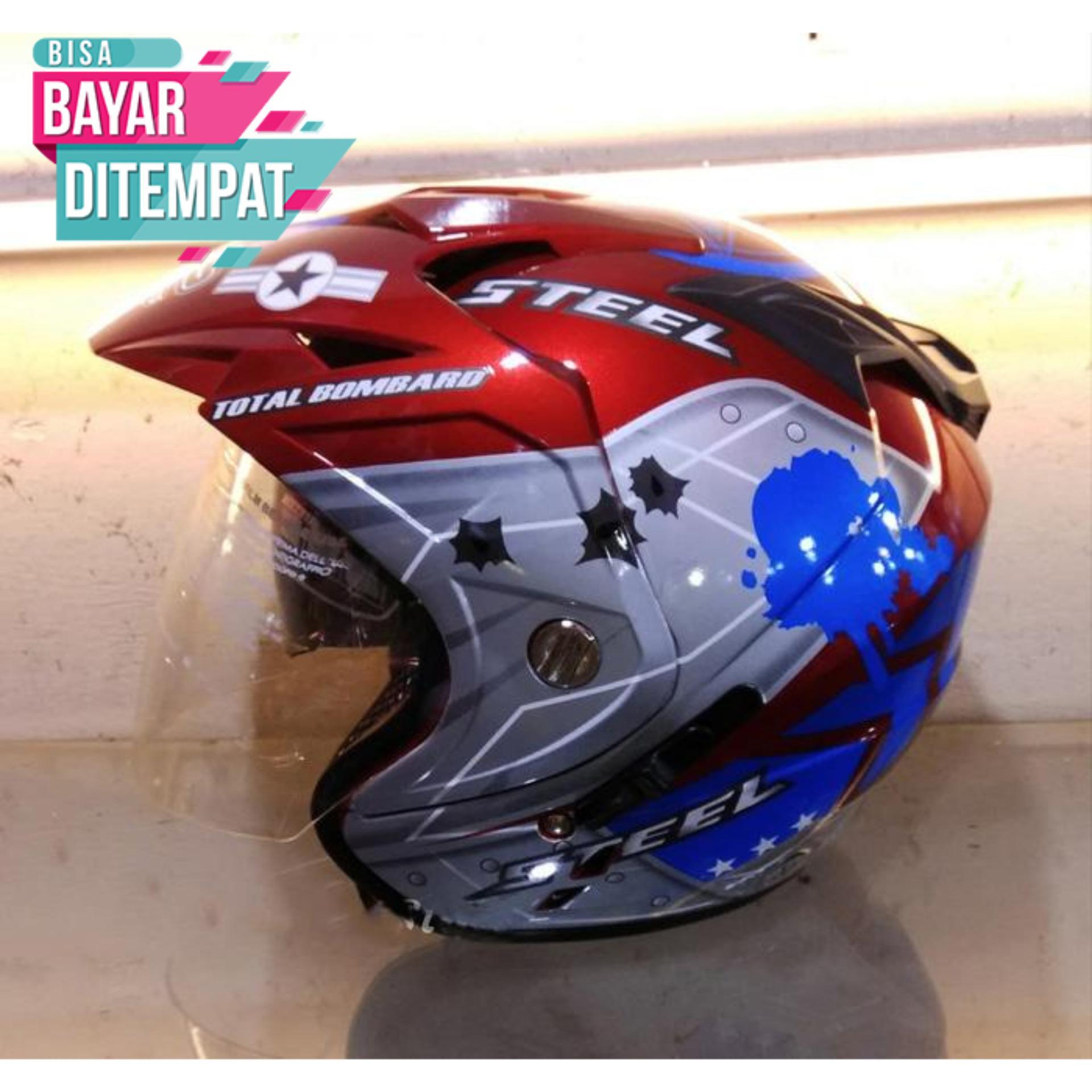 [Promo Best Seller] Helmet Dewasa Double Visor SNI Motoif Air Force Warna Merah Doff Kualitas Setara Helm KYT INK GM WTO MSR BMC NHK