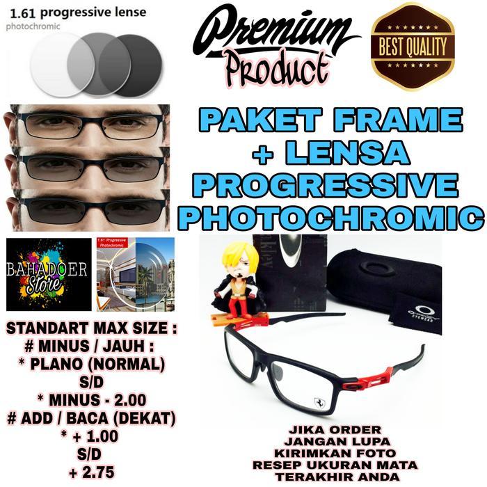 diskon 10%!! Jual Kacamata Baca Frame Oakley Dengan Lensa Progressive Photochromic - ready stock