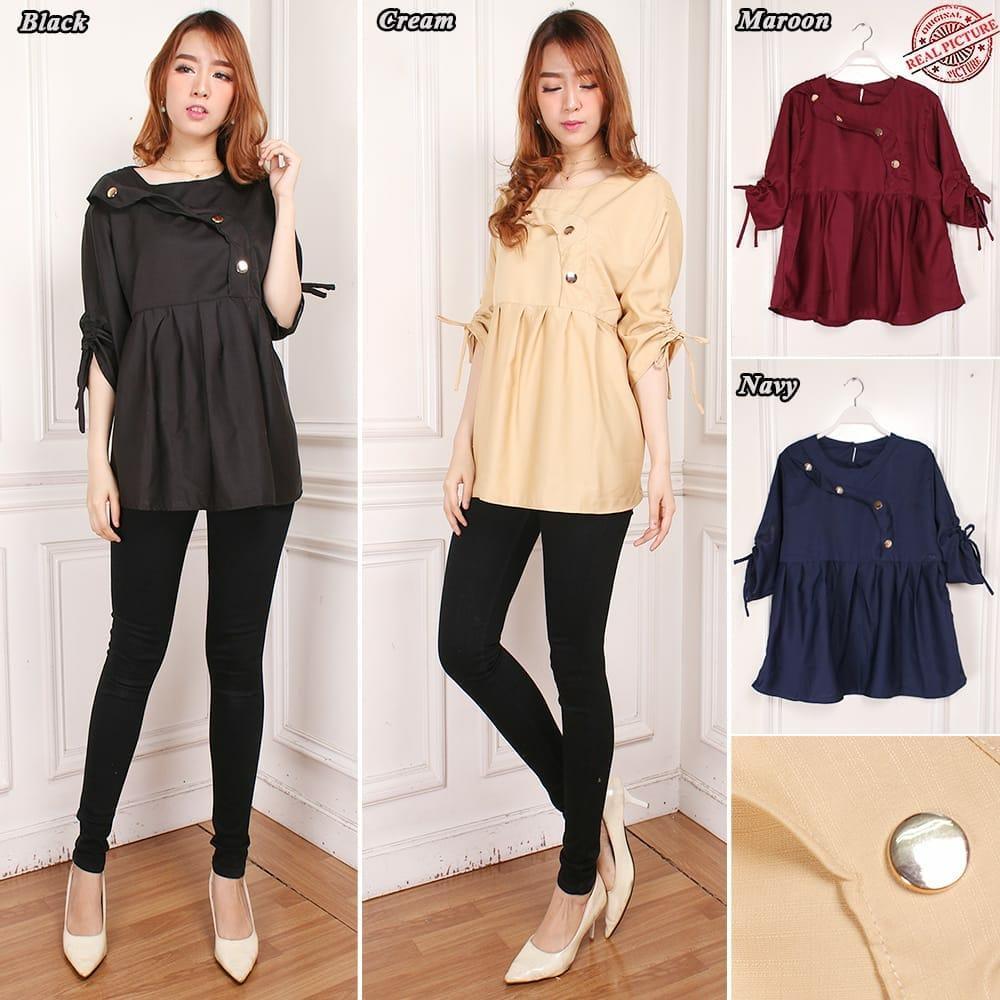 Cj collection Atasan blouse kemeja tunik wanita jumbo shirt blus long tunik Kirana