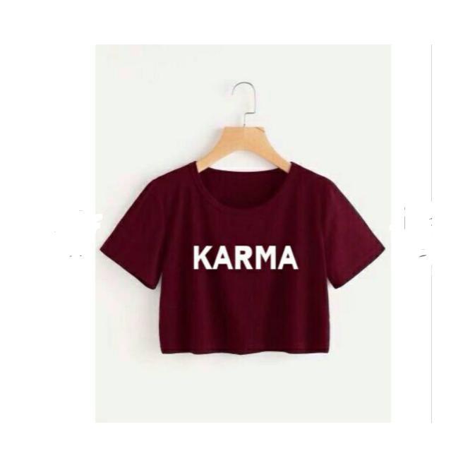 KARMA CROP TEE / ATASAN WANITA / FIT TO L / BAJU MURAH / TUMBLR / KAOS / MODEL BARU / FASHION