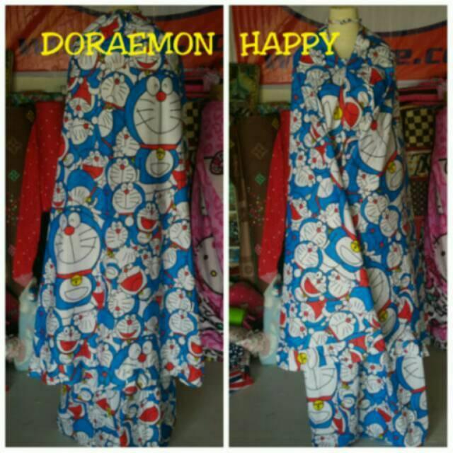 Jual mukena anak/mukena dewasa/mukena karakter bahan katun panca motif Doraemon (ukuran Anak)
