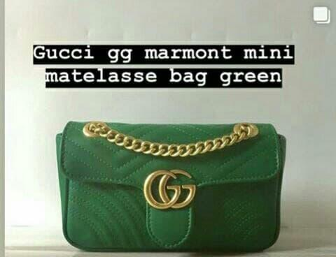 TAS GUCCI GG MARMONT MINI MATELASSE BAG GREEN MIRROR QUALITY