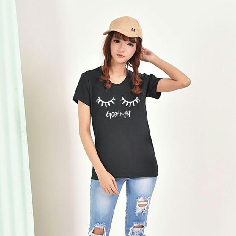 Vanessa Tumblr Tee / T-Shirt Goodnight / T-shirt Wanita / Kaos Cewek / Tumblr Tee Cewek / Kaos Wanita Murah / Baju Wanita Murah / Kaos Lengan Pendek / Kaos Oblong / Kaos Tulisan