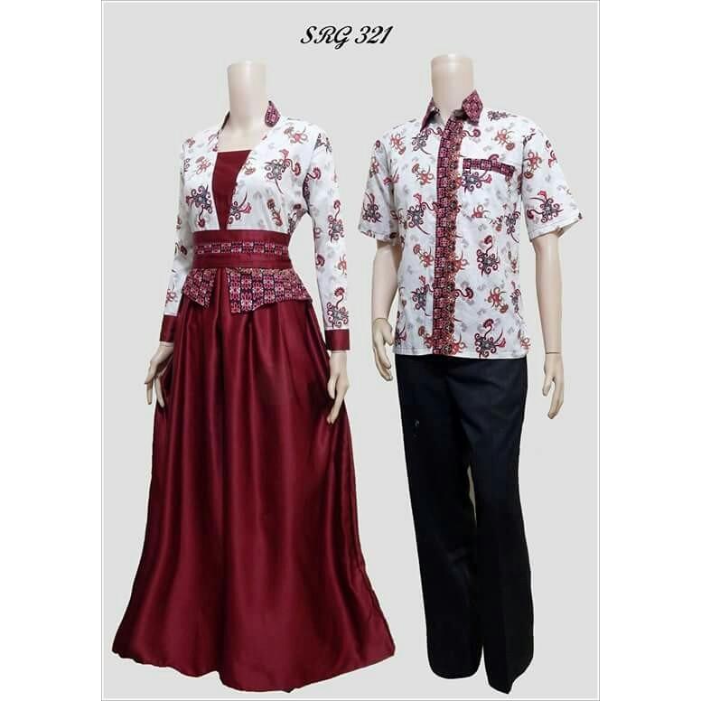 TERMURAH - Batik Couple / Couple Batik / Batik Sarimbit / Baju Batik Modern / Batik Kondangan / Baju Batik SRG 321 Marun
