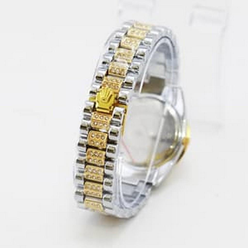 Jam Tangan Wanita / Cewek Rolex Romawi Jaring Rantai Kombinasi Gold DISKON MURAH!!!