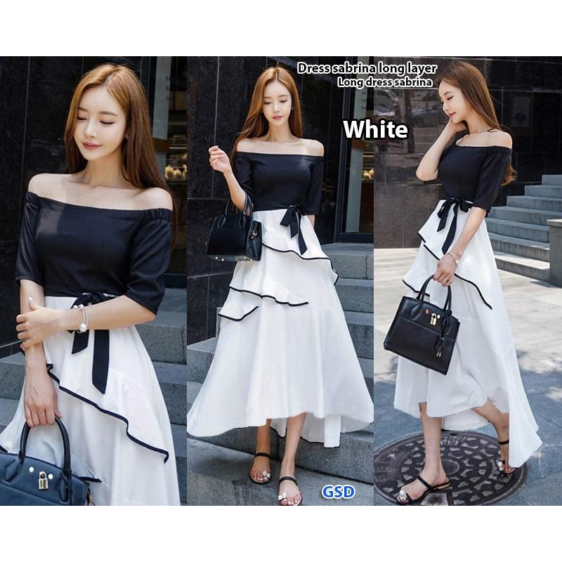 GSD - Baju Wanita/ Baju Pesta /Gaun Pesta /Long Dress/ Dress Pesta Sabrina White