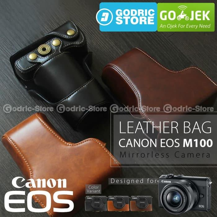 Canon EOS M100 Leather Bag / Case / Tas Kamera Kulit 15-45  / 18-55 MM