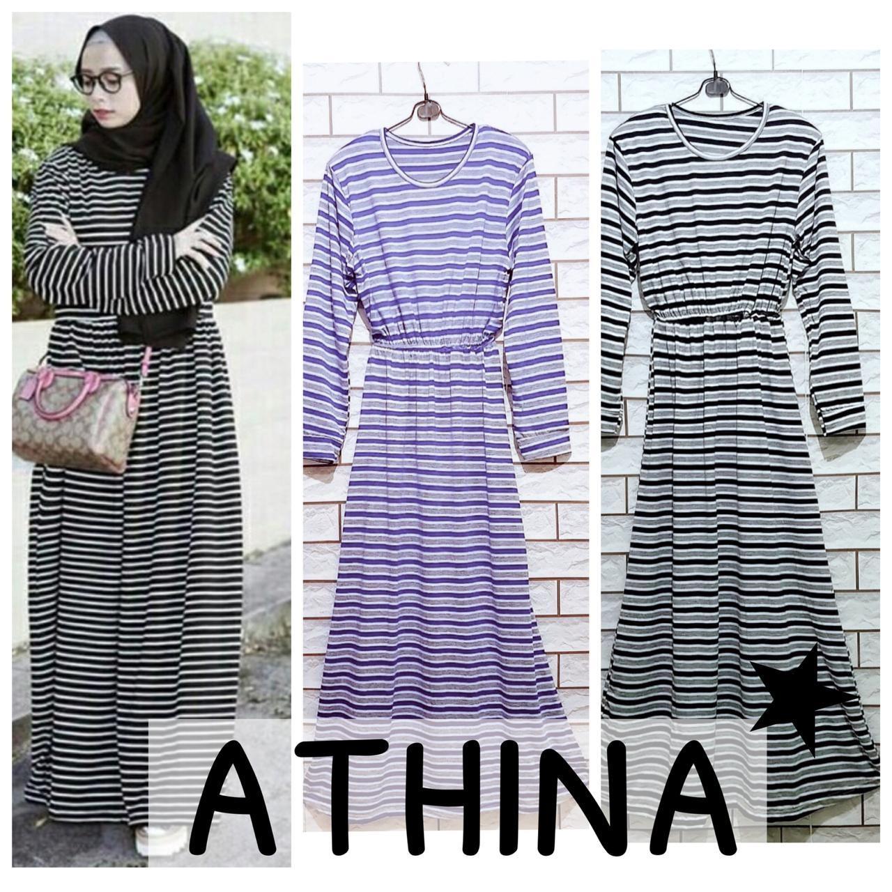 DAMAI FASHION JAKARTA - baju gamis muslim wanita Athina stripe - (tanpa hijab) konveksi tanah Abang