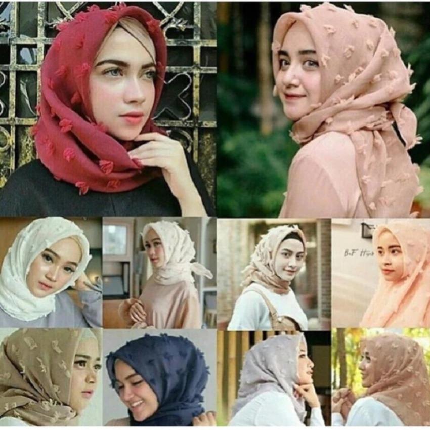 PIORIES - Jilbab Feather Square Kerudung Segiempat Organza Linen Rubiah