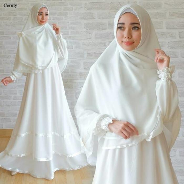 Hot Promo! Gamis ceruti white gamis putih baju gamis umroh pakaian haji polos Low Price!